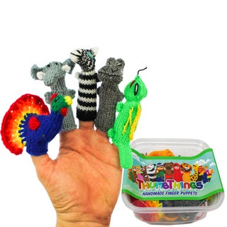 ThumbThings Handmade Finger Puppets, Set of 5: Peacock, Elephant, Zebra, Hippo, Iguana (Peru)