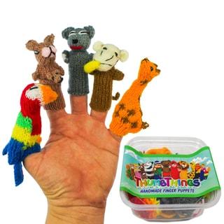 ThumbThings Handmade Finger Puppets, Set of 5: Parrot, Kangaroo, Koala Bear, Monkey, Giraffe (Peru)