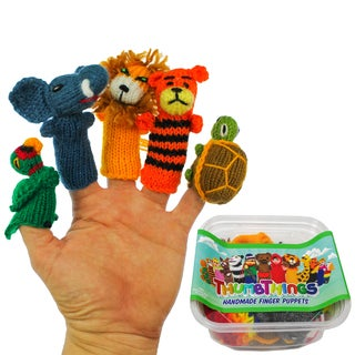 Handmade ThumbThings Finger Puppets, Set of 5: Macaw, Elephant, Lion, Tiger, Tortoise (Peru)