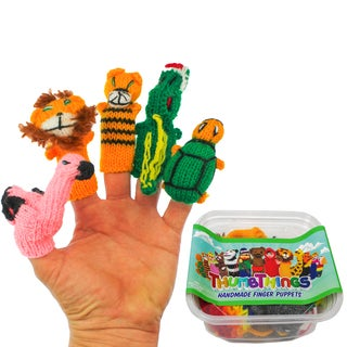 ThumbThings Handmade Finger Puppets, Set of 5: Flamingo, Lion, Tiger, Alligator, Turtle (Peru)