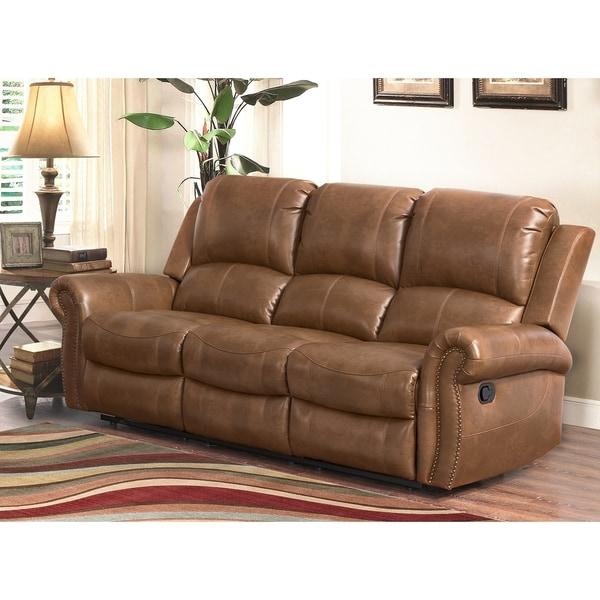 Shop Abbyson Skyler Cognac Leather Reclining Sofa - On Sale - Free ...