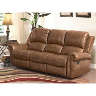 ABBYSON LIVING Skyler Cognac Leather Reclining Sofa