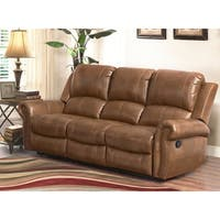 Abbyson Skyler Cognac Leather Reclining Sofa
