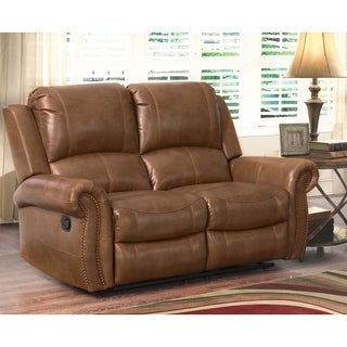 Abbyson Skyler Cognac Leather Reclining Loveseat