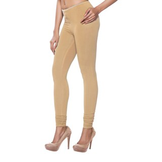 Handmade In-Sattva Women's Beige Cotton Leggings (India)