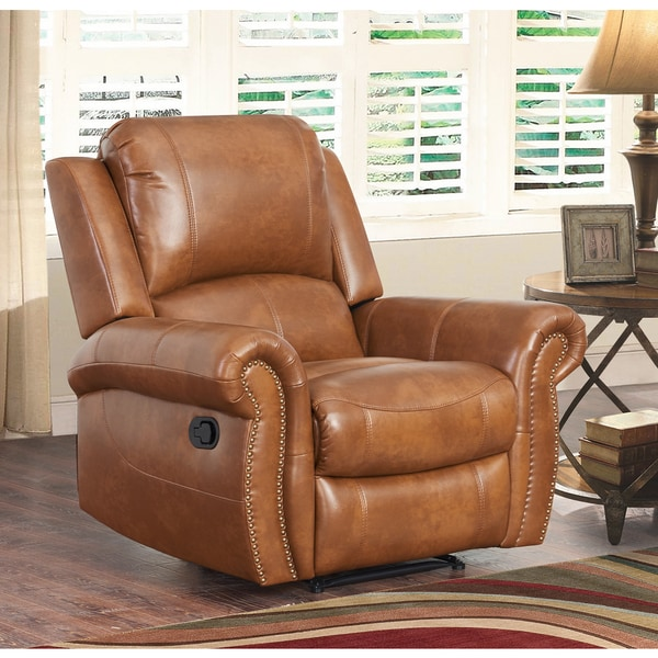Abbyson Living Skyler Cognac Leather Recliner Free