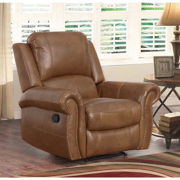 Very Abbyson Skyler Congnac Brown Leather Recliner - Free Shipping  OM17