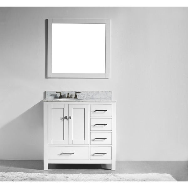 Shop 36 Inch White Solid Wood Single Sink Bathroom Vanity With Soft