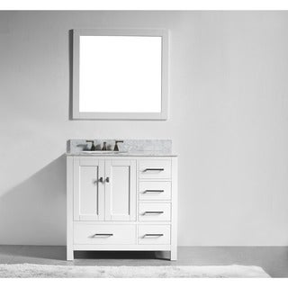 36-inch White Solid Wood Single Sink Bathroom Vanity with Soft Closing Drawers, and Mirror