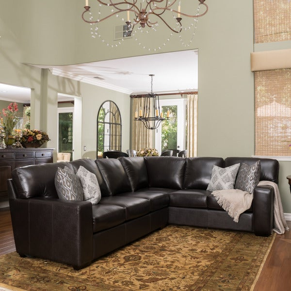 Shop Violet Dark Brown Leather Sectional Couch By Christopher Knight