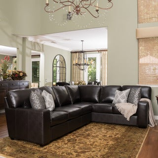 Violet Dark Brown Leather Sectional Couch by Christopher Knight Home