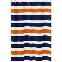 Navy Blue and Orange Stripe Shower Curtain