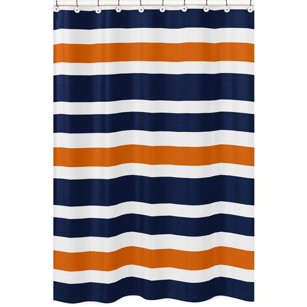 Shop Navy Blue And Orange Stripe Shower Curtain