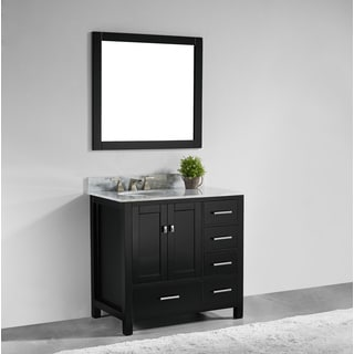 36-inch Espresso Finish Solid Wood Single Bathroom Vanity with Soft Closing Doors, and Mirror