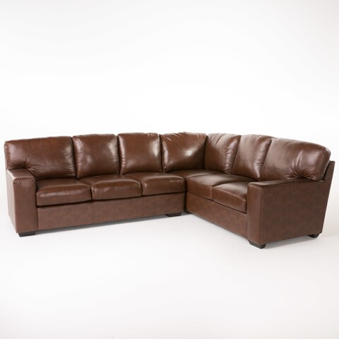 Violet Wine Leather Sectional Couch by Christopher Knight Home