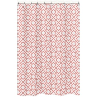 White and Coral Mod Diamond Shower Curtain