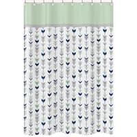 Grey and Mint Mod Arrow Shower Curtain