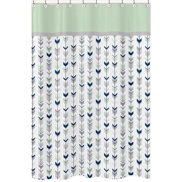 Grey And Mint Mod Arrow Shower Curtain