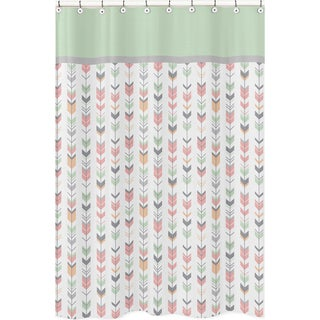 Coral and Mint Mod Arrow Shower Curtain