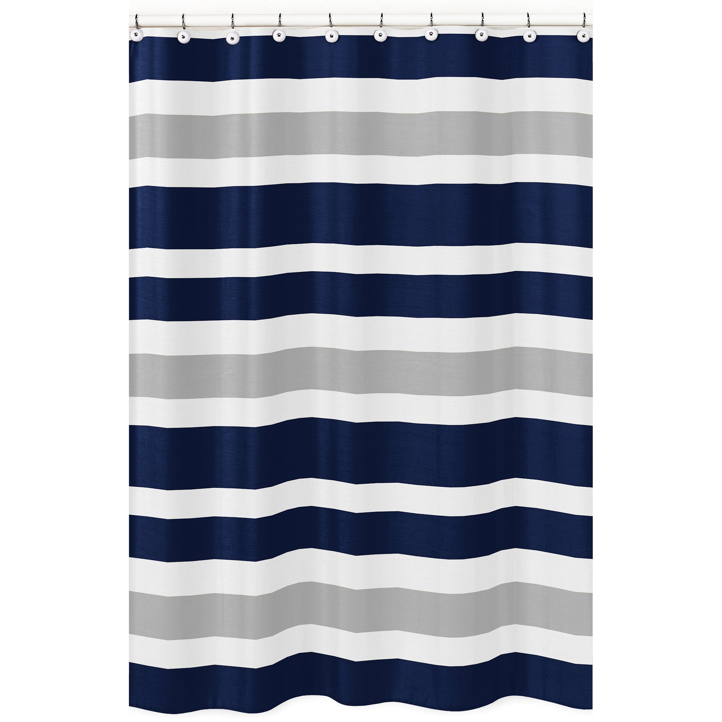 Navy Blue And Gray Stripe Shower