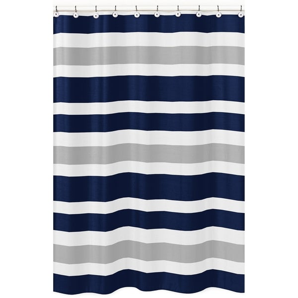 Shop Navy Blue And Gray Stripe Shower Curtain