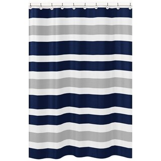Navy Blue and Gray Stripe Shower Curtain