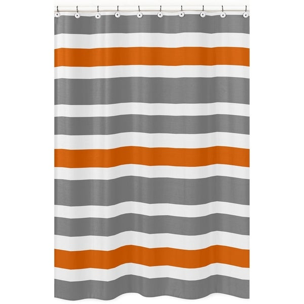 Shop Gray And Orange Stripe Shower Curtain
