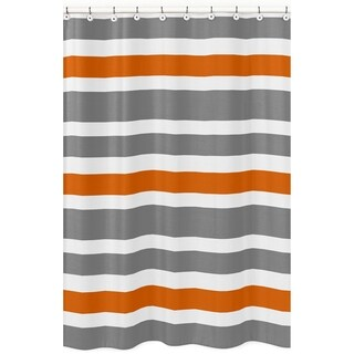 Gray and Orange Stripe Shower Curtain