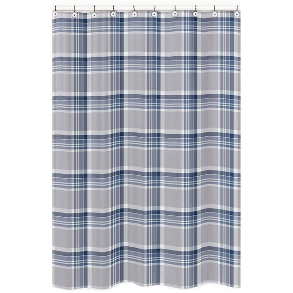 Captivating Navy Blue And Gray Plaid Shower Curtain