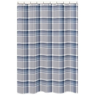 Navy Blue and Gray Plaid Shower Curtain