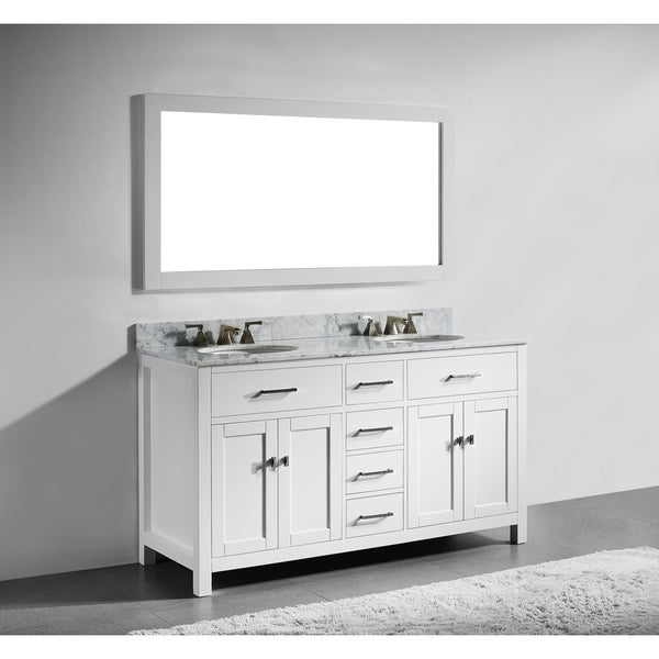 60 Inch White Finish Solid Wood Double Bathroom Vanity With Soft Closing  Drawers, And