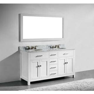 60 inch white finish solid wood double bathroom vanity with soft closing drawers andwall mirror bathroom vanities vanity cabinets shop the best