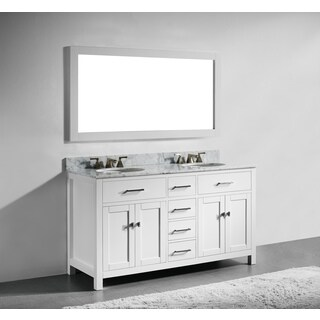 60-inch White Finish Solid Wood Double Bathroom Vanity with Soft Closing Drawers, and Mirror