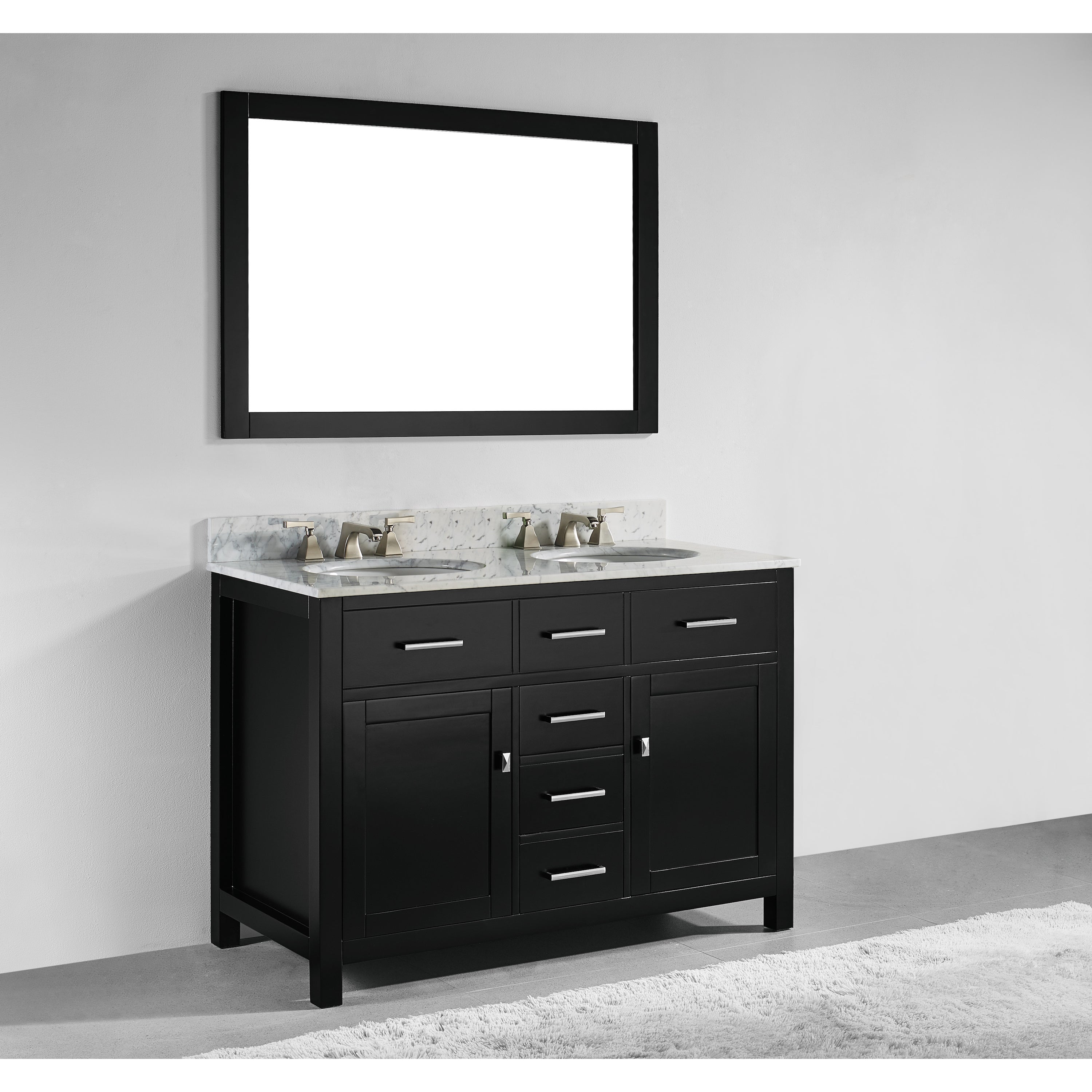 48 Inch Espresso Finish Solid Wood Double Sink Bathroom Vanity With Soft Closing Drawers And Mirror On Sale Overstock 12382373