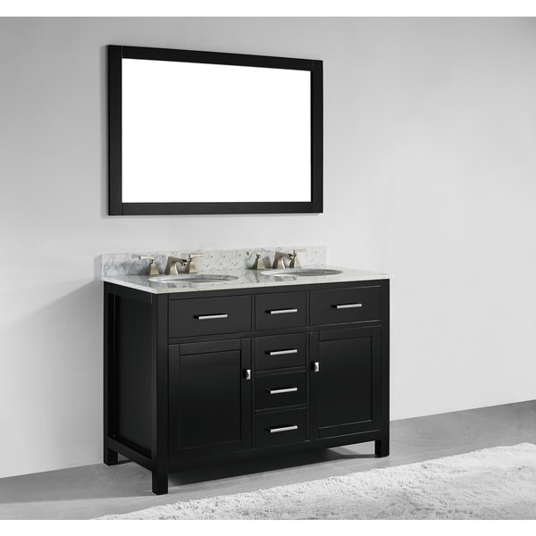 Shop 48 Inch Espresso Finish Solid Wood Double Sink Bathroom Vanity With Soft Closing Drawers