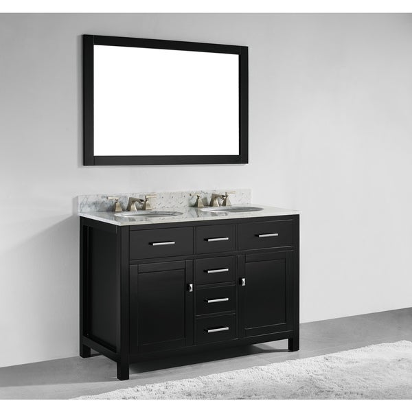 Shop 48 inch espresso finish solid wood double sink bathroom vanity with soft closing drawers for Solid wood double sink bathroom vanity