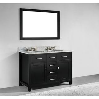 48-inch Espresso Finish Solid Wood Double Sink Bathroom Vanity with Soft Closing Drawers, and Mirror