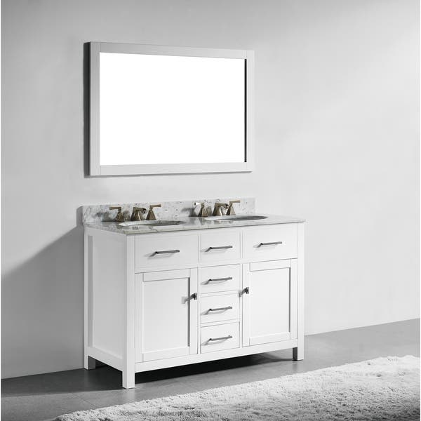 48-inch White Finish Solid Wood Double Sink Bathroom Vanity with Soft  Closing Drawers, and Mirror