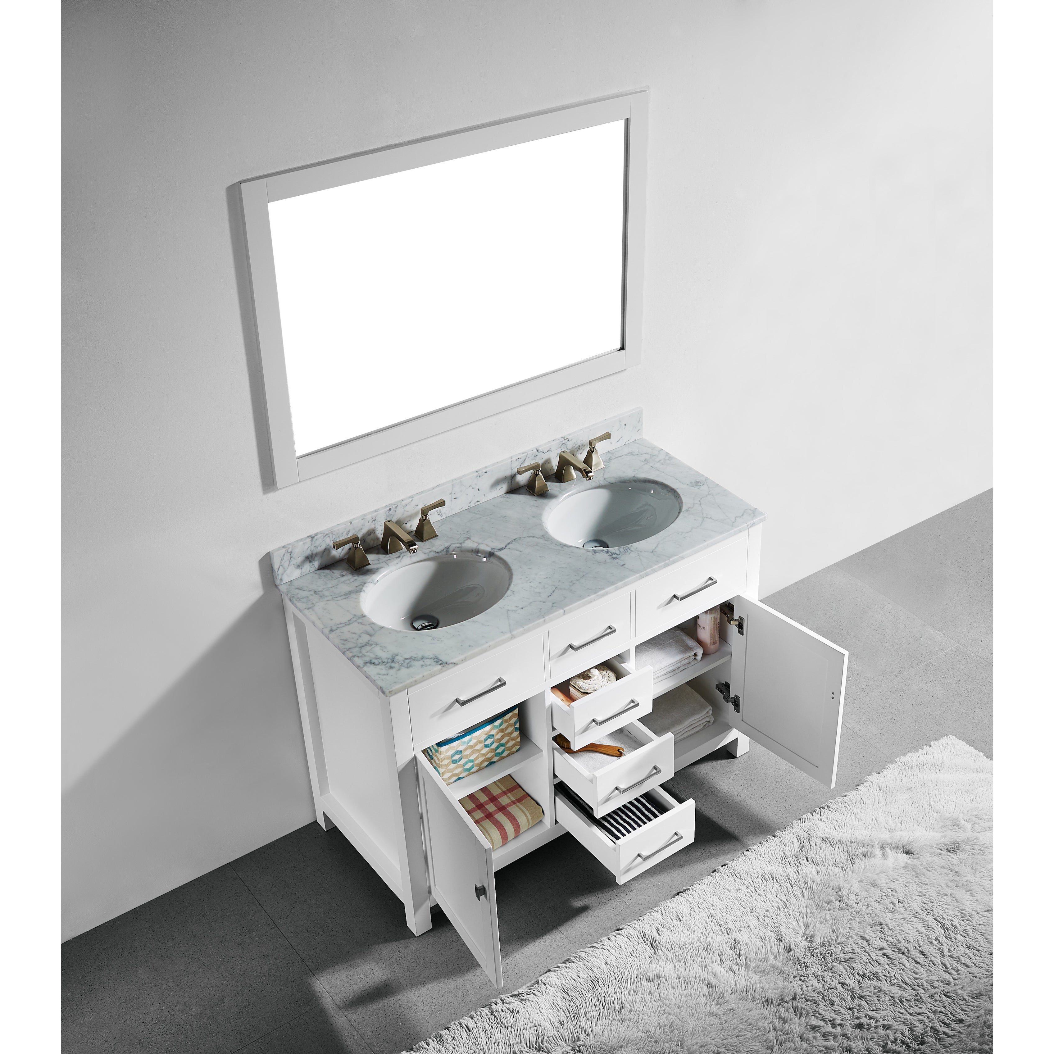 48 Inch White Finish Solid Wood Double Sink Bathroom Vanity With Soft Closing Drawers And Mirror Overstock 12382377