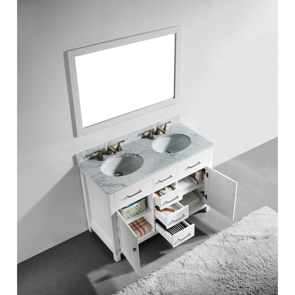 48 Inch White Finish Solid Wood Double Sink Bathroom Vanity With Soft Closing Drawers And Mirror