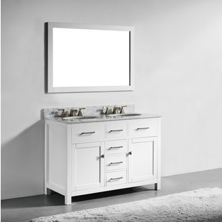 48 Inch White Finish Solid Wood Double Sink Bathroom Vanity With Soft Closing Drawerirror Free Shipping Today 12382377