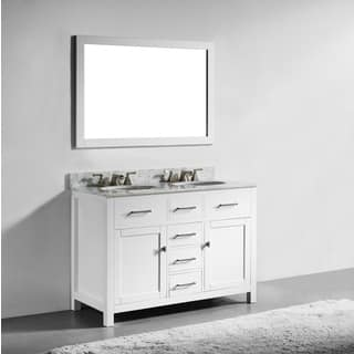48-inch White Finish Solid Wood Double Sink Bathroom Vanity with Soft Closing Drawers, and Mirror|https://ak1.ostkcdn.com/images/products/12382377/P19205252.jpg?impolicy=medium