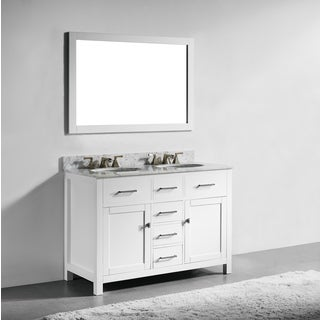 modern white bathroom cabinets. 48-inch White Finish Solid Wood Double Sink Bathroom Vanity With Soft Closing Drawers, Modern Cabinets E