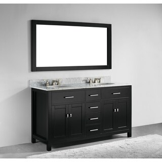 60-inch Espresso Finish Solid Wood Double Bathroom Vanity with Self Closing Drawers, and Mirror