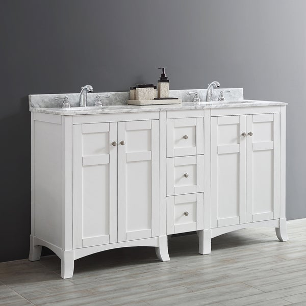 Arezzo 60 Inch Double Vanity In White With Carrara White Marble Top Without Mirror Free