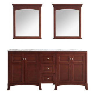 Arezzo 72-Inch Double Vanity in Antique Cherry with Carrara White Marble Top with Mirror