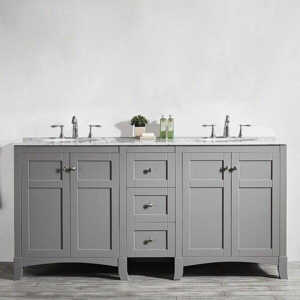 Shop Arezzo 72-Inch Double Vanity in Grey with Carrara ...