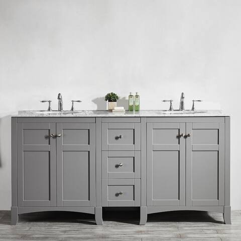 Arezzo 72-Inch Double Vanity in Grey with Carrara White Marble Top without Mirror
