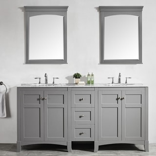 Arezzo 72-Inch Double Vanity in Grey with Carrara White Marble Top with Mirror