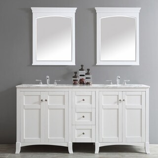 Arezzo 72-Inch Double Vanity in White with Carrara White Marble Top with Mirror
